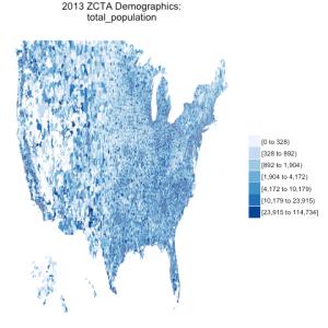 choroplethrZip v1.3.0: easier demographics, national maps